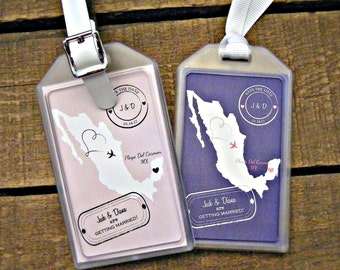 Save the Date Luggage Tags for Destination Weddings , Bridal Showers , Engagement Parties , Out of Town Bags , Welcome Bags