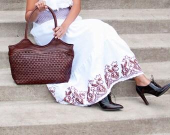 Natural Leather purse handmade - womens leather tote - soft leather tote - brown leather bags - leather handbags - shopper bag - |t|