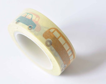 Bus Car Public Transport Vehicle Adhesive Washi Tape 15mm Wide x 10M Roll No. 12438