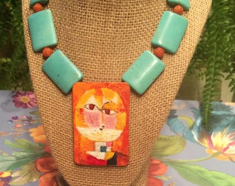 Turquoise and orange. Unique runway necklace.  After Paul Klee, acrylic painting  pendant,  handpainted, one of a kind, wearable art