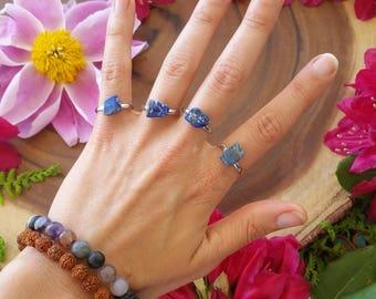 Lapis lazuli ring, lapis lazuli, blue crystal ring, adjustable rings