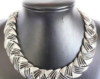 Vintage Metal Link Collar Choker Necklace