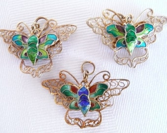 Vintage Gold Washed Silver and Enamel Filigree Butterfly Charms or Pendants