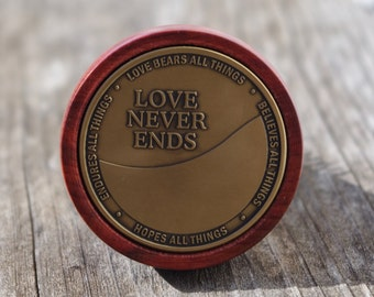 Corinthians 13 Love Never Ends bronze anniversary wedding coin with Redheart Wood wine bottle stopper Believes all Things