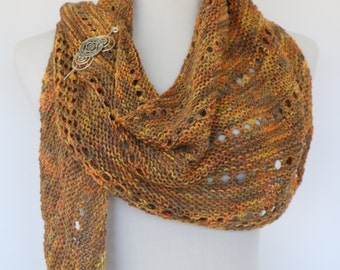 Assymetrical triangle scarf, colorful knit scarf, tan, gold and orange scarf, autumn colors