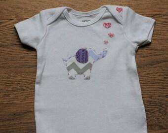 Elephant with Hearts Onesie or Shirt - Custom Colors or fabrics, Cute, Baby