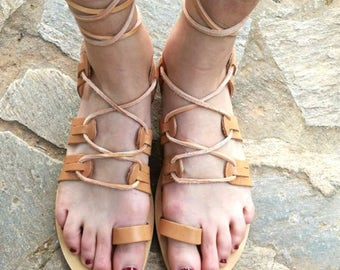 Natural Leather Sandals Gladiator, Genuine Leather, Women Flip Flops, Made In Greece,  Leather 100%, Tie Up Leather Sandals Gladiator