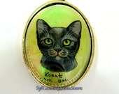 Hand Painted Cameo Korat Cat Pendant Mother Of Pearl Shell Cab Original Art Jewelry Artist Signed Cat Lovers Gift