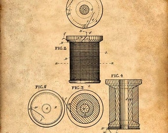 Thread Spool Patent Print from 1877 - Patent Art Print - Patent Poster - Sewing Machine