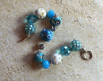 Blue Beaded Bracelet, Blue Beadwork Bracelet, Beadwork Bracelet, Beaded Bracelet, Gift For Her