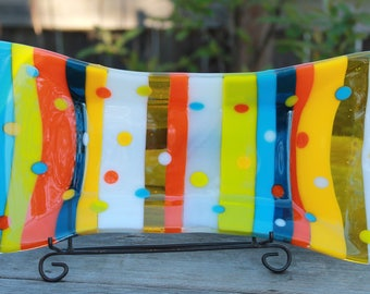 Summer Slices and Dots Fused Glass Platter, Fused Glass Dish, Fused Glass Serving Dish