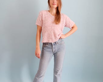 Fluffy Pale/Pastel Pink 90s Short Sleeve Sweater