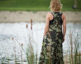 Military Dress, Plus Size Maxi Dress, Women Kaftan Dress, Sleeveless Dress, Hipster Clothing, Summer Dress, Floor Dress, Maternity Dress