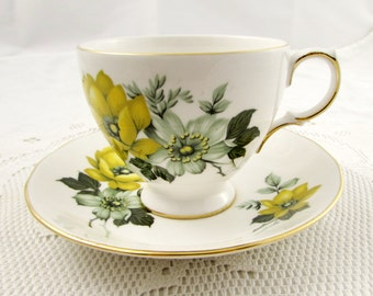Vintage Queen Anne Tea Cup and Saucer with Yellow Flowers, English Bone China