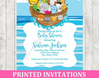 Custom Printed Noahu0027s Ark Baby Shower Invitation   Printed Noahu0027s Ark Baby  Shower Invitation By Dancing