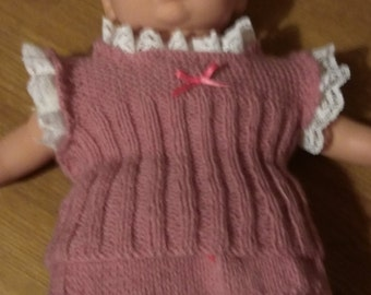 16-18 inch dolls clothes - Vest & Knickers - Lace edged - Hand knitted