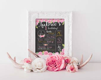 Pink Roses & Gold Girly Birthday Board, First Birthday Board, Wild One, 1