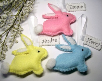 Easter decorations etsy personalised easter decoration felt easter bunny personalized easter gifts rabbit ornament bunny negle Images