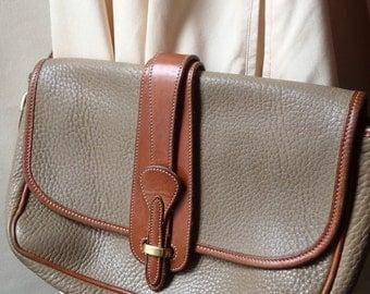 Vintage Dooney and Bourke handbag; taupe and tan purse; vintage designer purse; D and B vintage purse; crossbody leather purse shoulder bag