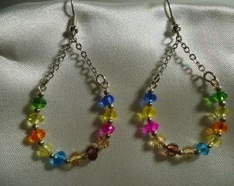 Multicolored Crystal Beads Teardrop Dangle Earrings