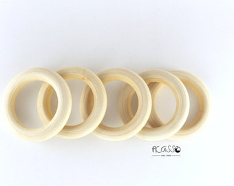 """Toy teether MAPPLE RING, natural wood, 2""""- 50 mm, untreated, baby gift, sensory toys,shower gift, baby teething toy, baby teether, DIY"""