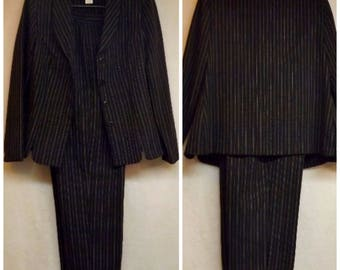 80s Vintage Miss Dorby Pants Suit Dark Blue Pinstripe Size 8