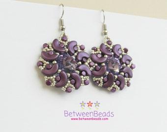 Drop Purple Earrings, Deep Purple Earrings, Purple Flower Earrings, Lightweight Earrings, Dark Purple Rhinestone, Fancy Earrings, Crystal