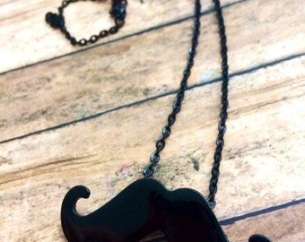 Mustache charm Necklace, black chain, black jewelry