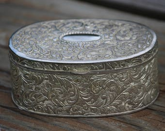 FTD Silver Oval Jewelry Box, Trinket Box