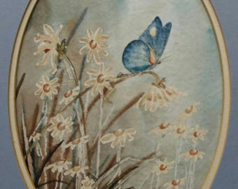 Old vintage artist signed original art watercolor painting butterfly and flowers David Boudin