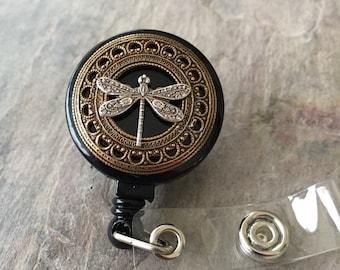 Dragonfly badge holder, badge reel, dragonfly gift, badge clip