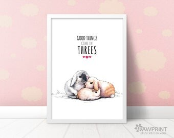 Triplet gifts etsy nursery bunny rabbit gift for triplets nursery good things come in threes baby shower negle Images
