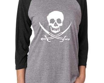 Pirate Shirt. Pirate T-shirt. Super Soft and Comfy, Women's Triblend Baseball Tee. Skull Shirt. Gasparilla Shirt. Shipwrecked Shirt.