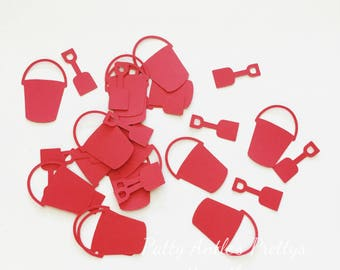 Pail and Shovel Die Cuts, Pail & Shovel Confetti, Beach Confetti, Vacation Die Cuts, Pails and Shovels Die Cuts, Pails and Shovels Confetti