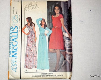 McCALLS 4388 1970's  CAREFREE PATTERNS Size 8 Misses Dress - For Unbonded Stretchable Knits