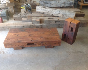 Reclaimed Barn Beam Coffee Table with Matching Accent Table. Beautiful reclaimed wood handmade into a rustic coffee table & barnwood stand.