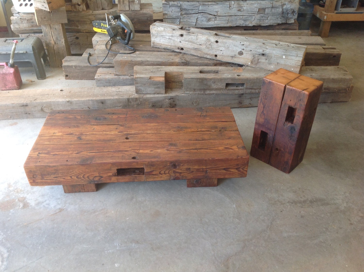 Reclaimed barn beam coffee table with matching accent table Furniture made from barn wood