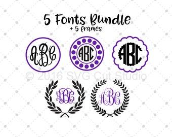 Font bundle SVG, Digital Font SVG, Script Monogram Font, Digital Font svg, Fancy Circle Font svg files for Cricut and Silhouette, svg files