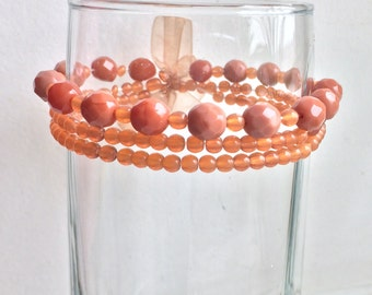 Brown Czech Glass Bracelet, Brown Stretch Bracelet, Beaded Stretch Bracelet, Czech Glass Jewelry