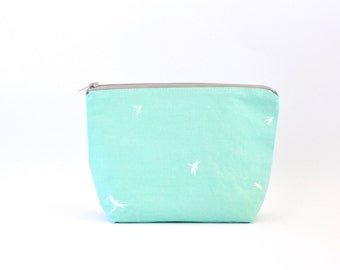 Mint Cosmetic Bag, Zipper Pouch, Makeup Bag, Makeup Pouch, Cosmetic Pouch, Toiletry Bag - Mint Green