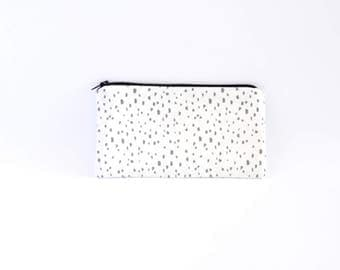 Small Zipper Pouch, Zipper Bag, Makeup Pouch, Cosmetic Pouch, Coin Purse, Bag Storage Organiser - Grey Speckles On White
