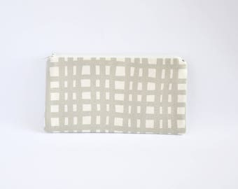Small Zipper Pouch, Zipper Bag, Makeup Pouch, Cosmetic Pouch, Coin Purse, Bag Storage Organiser - Grey Grid