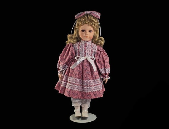 Collectible Porcelain Doll, Prairie Style, Blonde Doll, 17 inch Doll, Display Doll, Stand Included