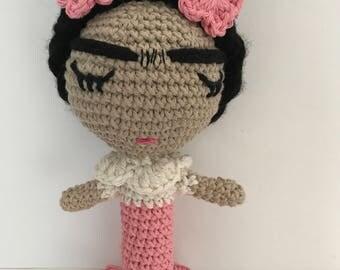 Frida sonaja, frida Doll, Frida, Amigurumi Doll, handmade doll, Crochet doll, Frida amigurumi doll, Frida crochet doll, Baby rattle