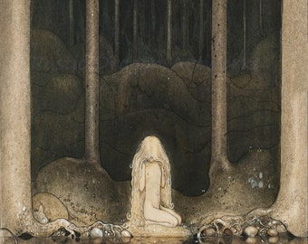 "John Bauer ""Princess Tuvstarr Gazing Down into the Dark Waters of the Forest Tarn"" 1918 Reproduction Digital Print Young Princess Fairy Tale"