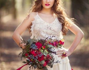 Boho flower bouquet Woodland bouquet Wedding bouquet with roses and blueberries Bridal flower bouquet Bridal bouquet
