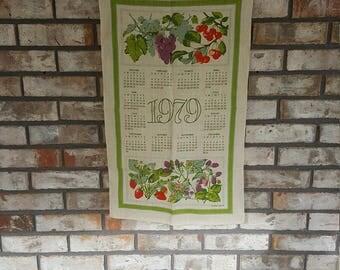 Vintage Linen Tea Towel Grapes Cherries Strawberry and Floral Motif / Retro 1979 Calendar Kitchen Decor