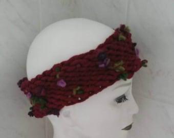 Bordeaux red autumn headband