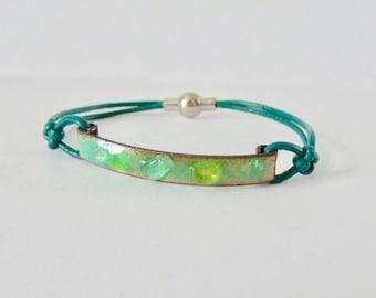 green enamel and glass bracelet