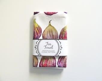 Watercolour fig tea towel